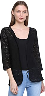 RUTE Net 3/4Th Sleeve Solid Shrug for Women