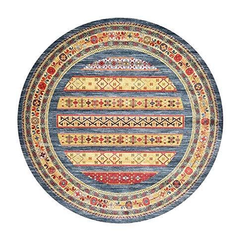 NICHT-Rutschmaschine Waschbarer Teppichboden für Wohnzimmer-Schlafzimmer-Teppich, Runder Vintage Boho-Akzent-Teppich, moderner Mandala-Area-Teppich, leicht zu reinigen-an-Phi;: 140 cm (55,12 Zoll) MIS