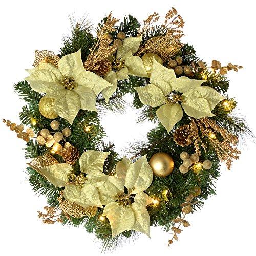 WeRChristmas - Ghirlanda natalizia decorativa, illuminata da 20 LED, luce bianca calda, colore: giallo oro, diametro: 60 cm