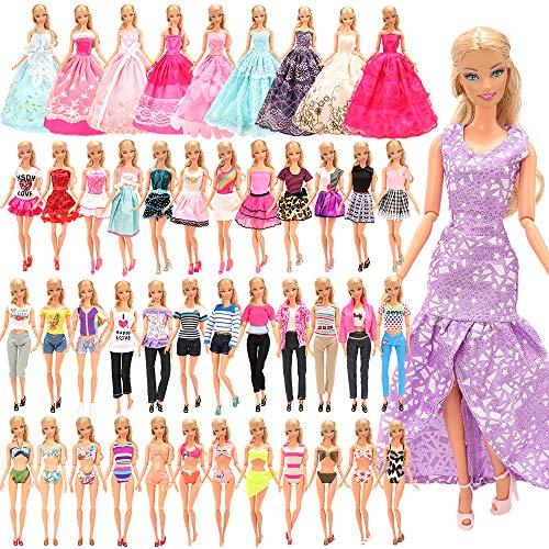 16 sets kleding = 10 sets vrijetijdskleding kleding + 3 avondjurken + 3 badpak voor barbie-poppen