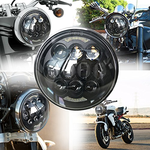 faro 5.7 pollici rotondo a LED proiettore Daymaker abbagliante/anabbagliante con Halo DRL Angel Eyes per moto Harley Davidson (nero)