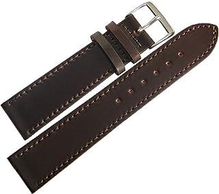 Fluco Horween Bracelet de montre en cuir Marron 18 mm