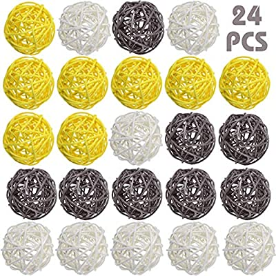 DomeStar Rattan Ball, 24PCS 2 Inch Decorative Balls Orbs Vase Bowl Fillers