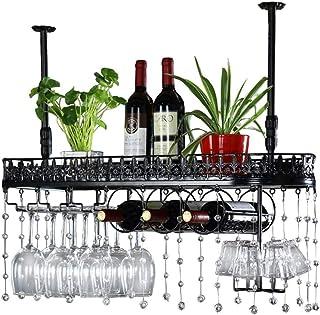 Organisation de rangement de la cuisine Supports à verres en métal Monté au plafond noir Porte-bouteille de vin suspendu R...