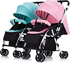 Twin Baby Stroller Detachable Handle Reversible Infant Carriage Can Sit and Lie Down Lightweight Foldable Double Trolley (Color : Mint Green+Pink)