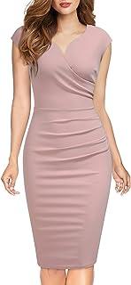 Miusol Lápiz Plisado Cuello en V Fiesta Vestido para Mujer