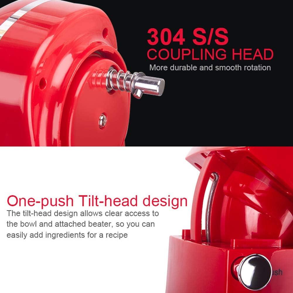 Robot Pâtissier 1500W Batteur Électrique 5L 1500W Avec 6 Vitesses avec accessoires Rouge-1500w-5l