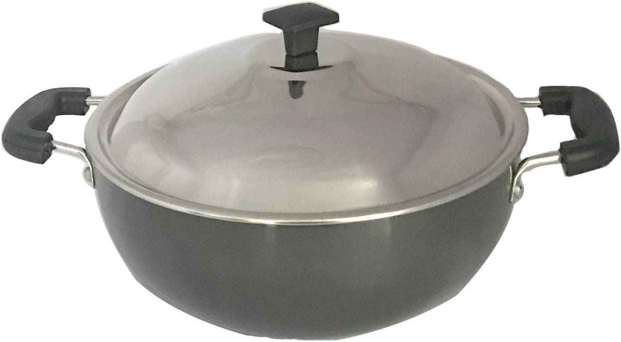 Aluminium Limited time for free Ranking TOP1 shipping Kadhai Hard Anodised with All Steel Purp Stainless Lid