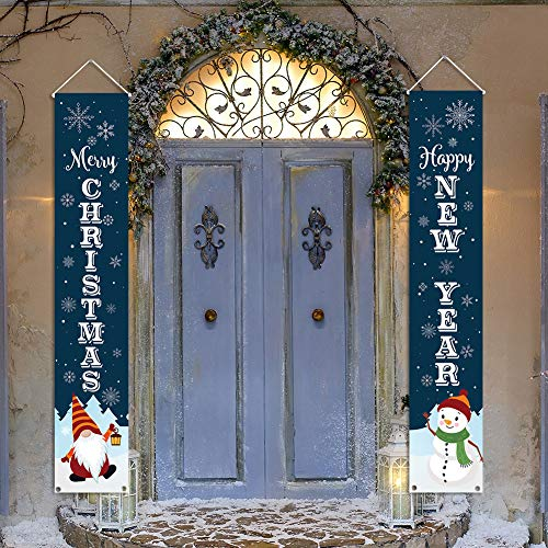 "Kmuysl Christmas Decorations Outdoor - Xmas Decoration Banner -Extra Large Size 71""x12"" Hanging Merry Christmas Happy New Year Door Porch Sign for Indoor Outside Yard Garden Party Wall Decor"