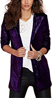 HaoDuoYi Women's Sparkly Sequins Pocket Side Open Front Casual Coat Jacket