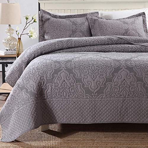 Siunwdiy Bedspread Patchwork Cotton Bedspreads Bed Throw Quilted,Grey Embroidery Easy Clean Comfortable Bedspread Reversible Quilt with 2 Pillow Case,230 * 250cm