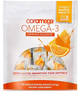 Coromega Omega 3 Fish Oil Supplement, 650mg of Omega-3s with 3X Better Absorption Than Softgels, Orange Flavor, 120 Single...