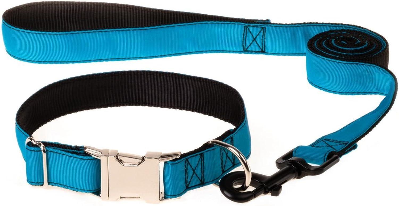 ComSaf Vivid Dog Collar and Leash Set S Deepskybluee
