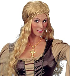 Funny Fashion Medieval Rennaisance Woman Halloween Wig, Blonde, One-Size