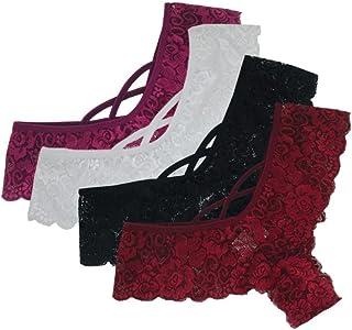 9c4284079155 Huhua💗Sexy 4PC Women Lace Flowers Low Waist Underwear Panties G-String  Lingerie Thongs