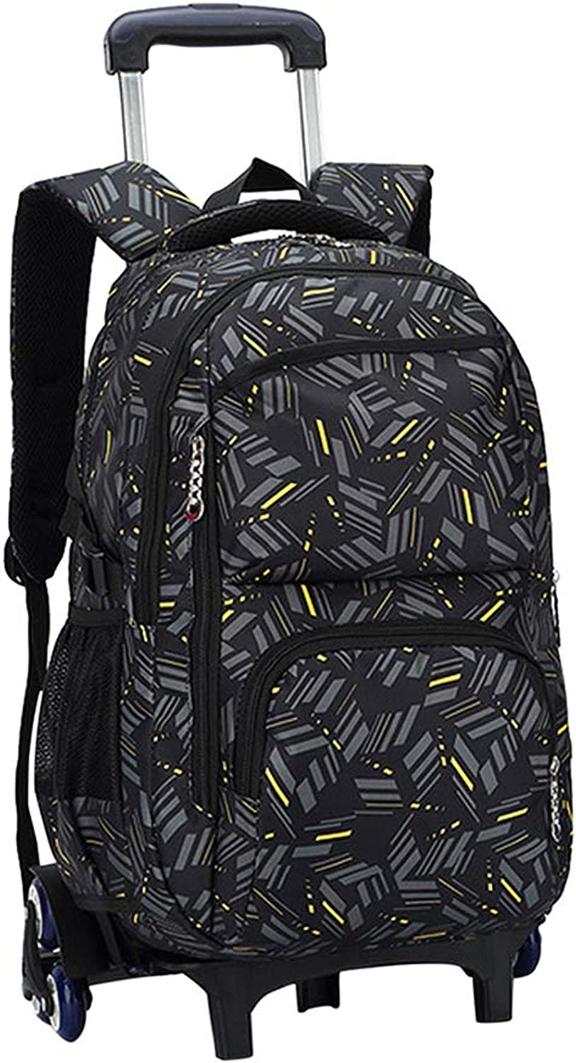 Boys Girls Rolling Backpack Waterproof Lightweight  Primary Students 1015 Years Old Trolley Bag with 6 Wheels Removable Zhhlaixing