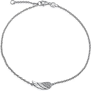 Delicate CZ Angel Wing Feather Anklet For Teen Ankle Bracelet For Women Teens Rose Gold Plated 925 Sterling Silver 9-10 In...