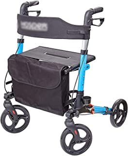 Elderly Trolley, Folding Trolley Shopping Outdoor Household Small Cart Four Wheels Easy to Carry Multifunction, Height Adjustable (Color : Blue)