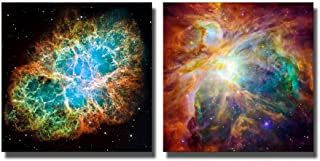 wall26 Canvas Prints Wall Art - The Cosmic Cloud Orion Nebula and Crab Nebula | Modern Wall Decor/Home Decoration Stretched Gallery Canvas Wrap Giclee Print & Ready to Hang - 16