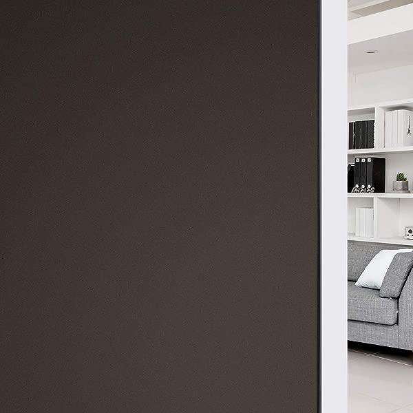 HIDBEA 全遮光窗户贴膜隐私房间变暗不透明窗户色调挡光静电附着玻璃覆盖物可拆卸 17 5 英寸 X 6 5 英尺