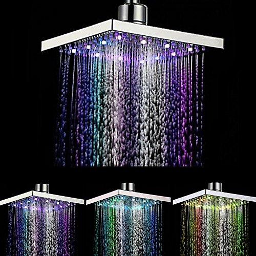 DAXGD 7 Farbwechsel Duschkopf, viereckig Wasser Flow Powered 20cm ABS-Chrom Finish für Badezimmer