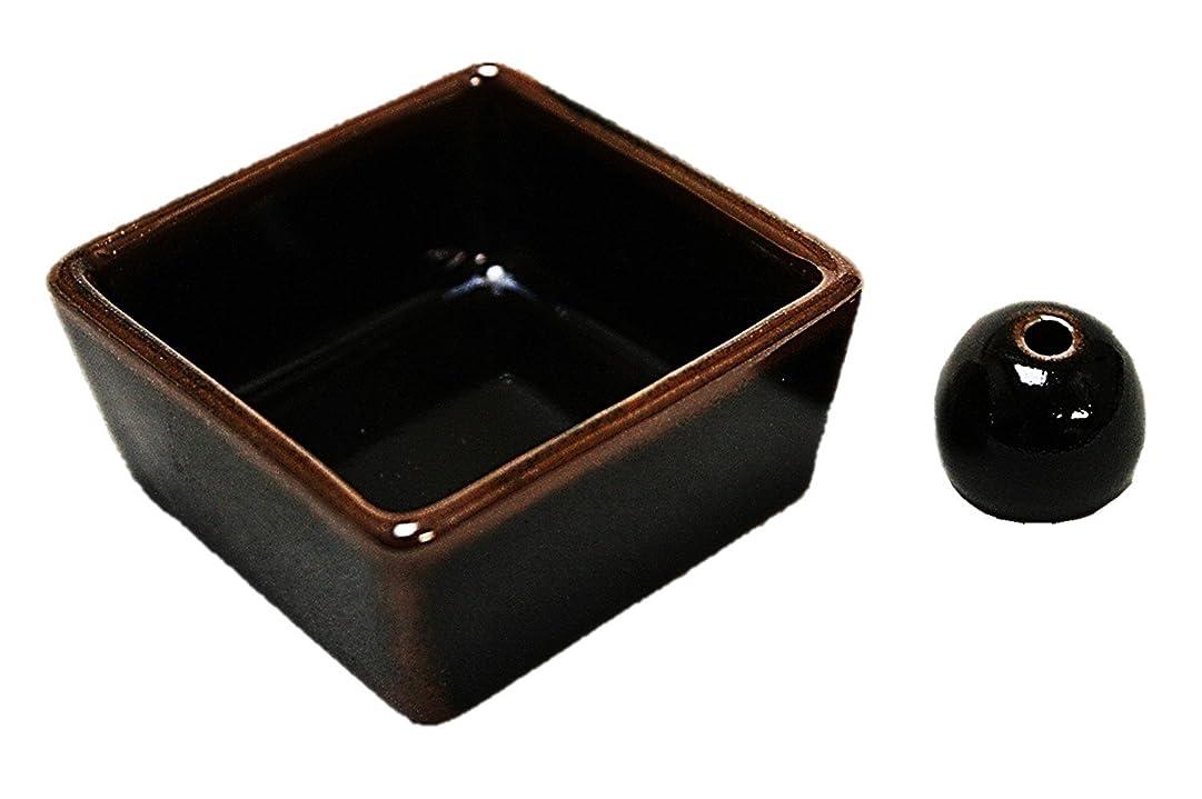 わずかに切り離す繁雑和モダン 窯変黒天目釉 お香立て 陶器 角鉢 製造直売品