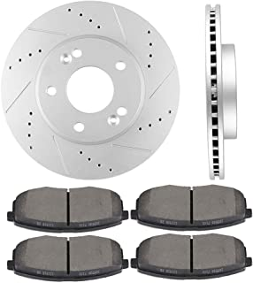 OCPTY Brakes and Rotors Set with 2 Front Brake Disc Rotots and 4 Ceramic Pads fit for 2014 2015 2016 Kia Soul