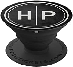 HP Monogram Gift Black Two Initials HP Monogram PopSockets Grip and Stand for Phones and Tablets