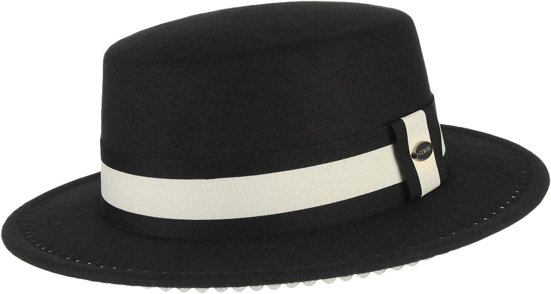 Jelord Women Wool Felt Boater Hat Vintage Pearl Wide Brim Church Derby Wool Flat Top Hat Fedora Hats