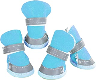 VigorY Dog Boots Plush Winter Warm Sneaker Shoes for Detachable Closure Puppy Dog Shoes Booties Boots 2 Pairs 4PCS