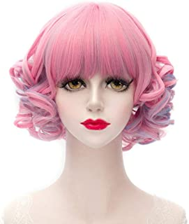 short curly pink wig
