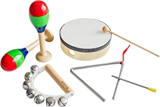 MUSICUBE Musical Instrument Set for Toddler Baby Kid 7 Pcs Wooden Percussion Instrument Musical Toys with Drum Set, Maracas, Triangles, Hand-Bell Instrument for Boys Girls Aged 3+ Gift Choice