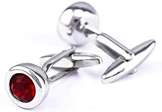 Aooaz Cufflinks Jewelry Crystal Round Cufflinks for Men Vintage Red