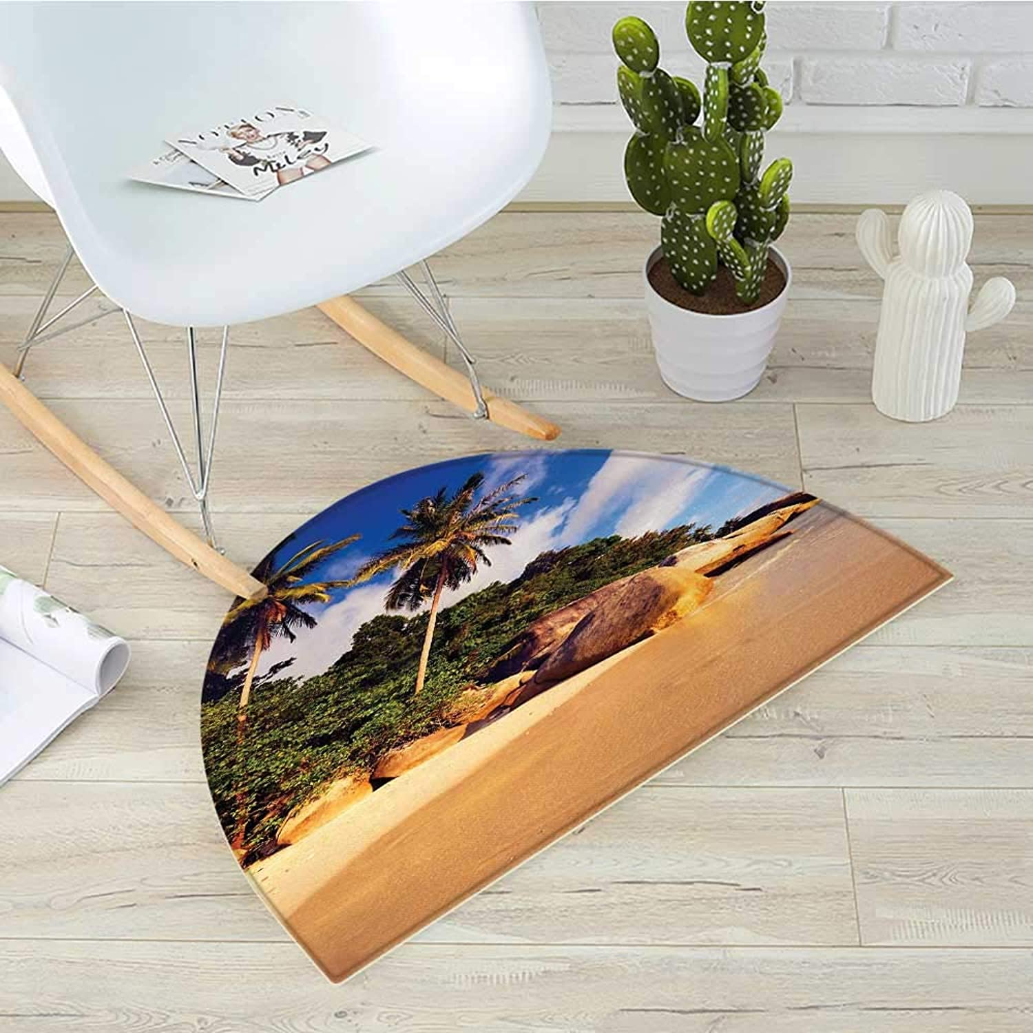 Palm Tree Semicircle Doormat Tropical Beach Serenity in Nature Exotic Fruit Coconut Rocks Seascape Print Halfmoon doormats H 39.3  xD 59  Green Brown