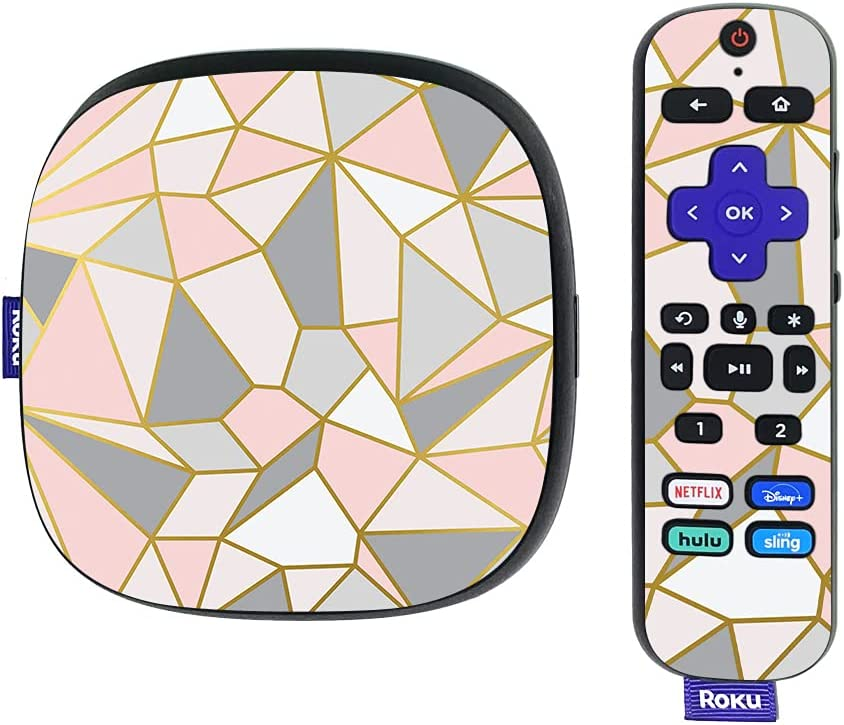 MightySkins Skin Compatible with Roku Ultra HDR 4K Streaming Media Player (2020) - Rose Gold Polygon | Protective, Durable, and Unique Vinyl Decal wrap Cover | Easy to Apply | Made in The USA