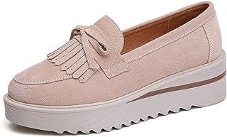 [OceanMap] スニーカー カジュアルシューズ レディース シューズ 厚底 靴 スニーカー ウォーキングシューズ 歩きやすい 痛くない 履きやすい シンプル 春夏秋 ローファー タッセル リボン 25cm ブラウン