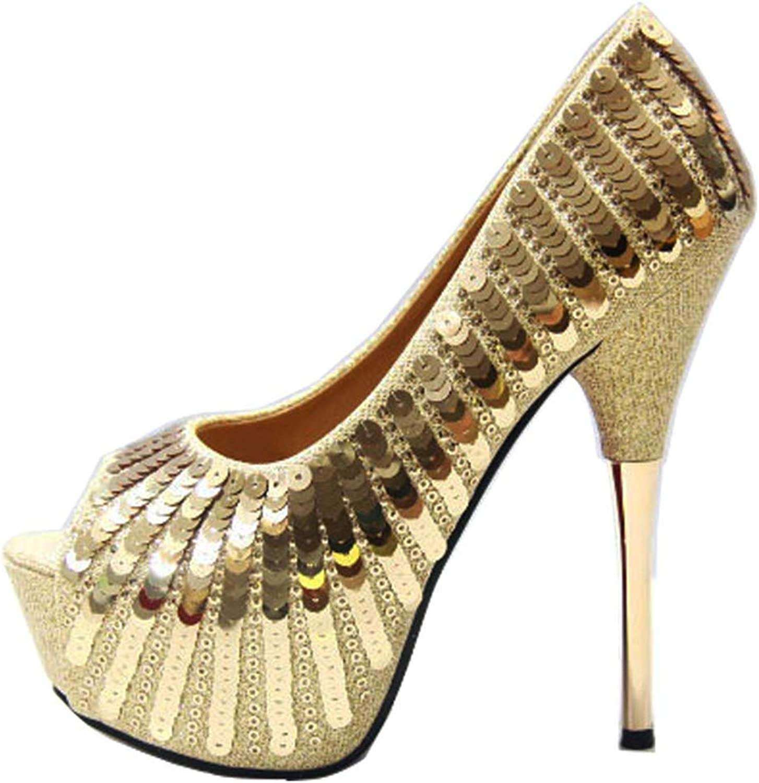 Womens Ladies Stiletto Sandals High Heel shoes Pumps Peep Toe Slip on Platform Dress Party Evening Black gold