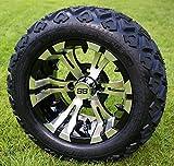 12' VAMPIRE Machined/Black Golf Cart Wheels and 20x10-12 DOT All Terrain Golf Cart Tires - Set of 4 - NO LIFT REQUIRED (read description)