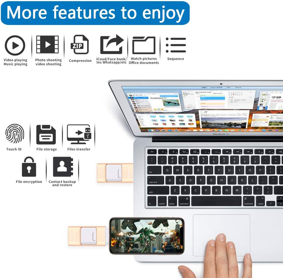Black Photo Stick Memory External Data Storage Thumb Drive Compatible with iPhone iPad Sunany USB Flash Drive 256GB PC and More Devices Android