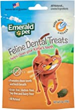 Emerald Pet - Feline Dental Treats, Dental Stick, Cat Chews for Teeth Cleaning, Freshens Breath, Reduces Plaque and Tartar, Grain-Free (Feline Dental Treat, 3 Ounce)