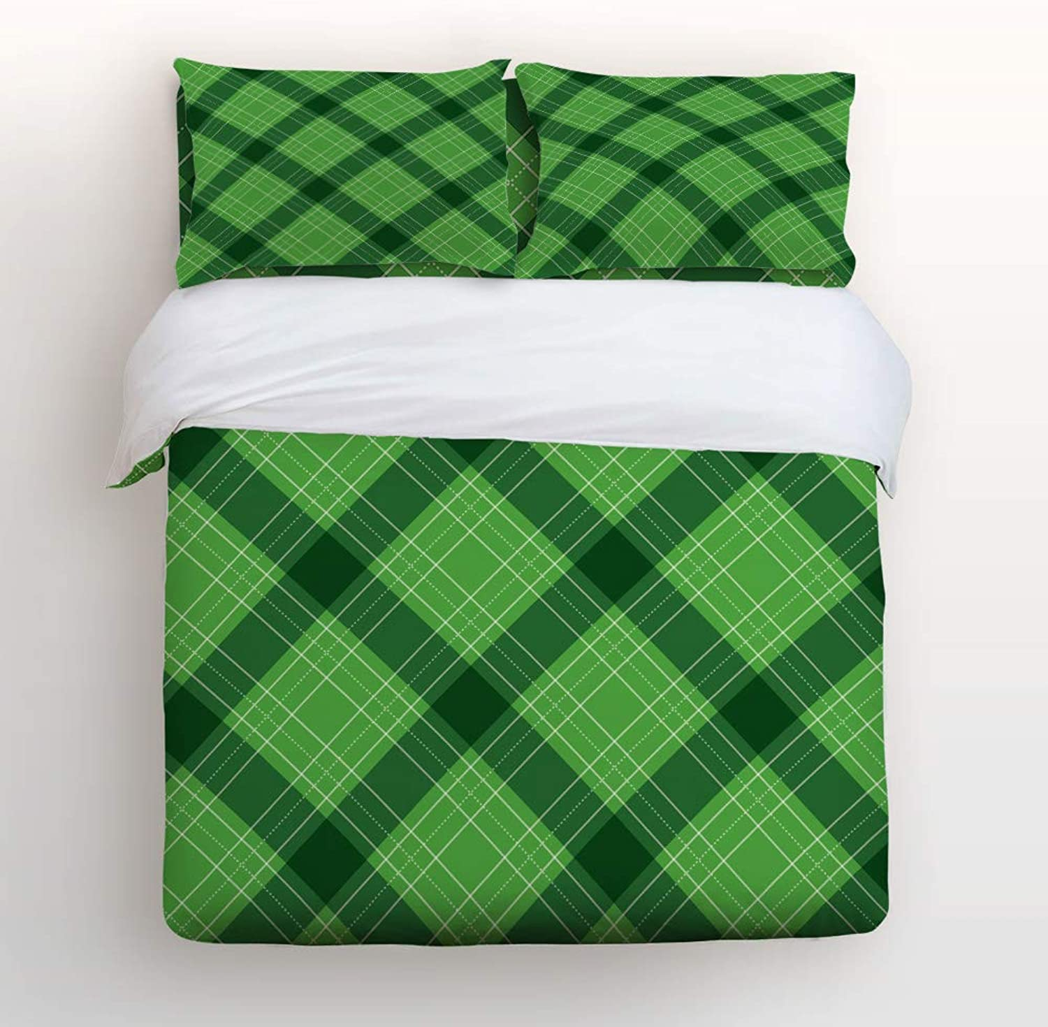 LAMANDA Happy St. Patrick's Day 4pcs Bed Set Rustic Green Scottish Plaid Bedding Sets Duvet Cover Flat Sheet No Comforter with Decorative Pillow Shams for Kids Women Men Teens