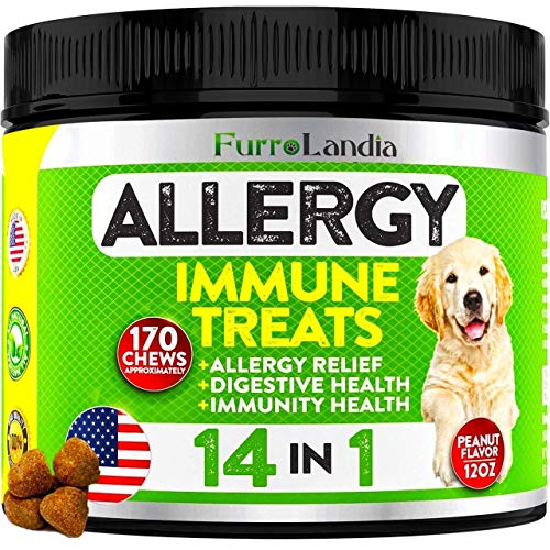 Allergy Relief Immune Supplement for Dogs - Seasonal Allergies, Itch Relief for Dogs, Skin Hot Spots - Colostrum, Digestive Probiotics for Skin Health - Made in Usa | 170 Treats - Peanut Butter Flavor