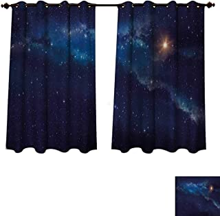 Anzhouqux Sky Bedroom Thermal Blackout Curtains Deep Space with Star Field Backdrop Astral Infinite Universe Interstellar Blackout Draperies for Bedroom Indigo Blue Pale Orange W52 x L63 inch