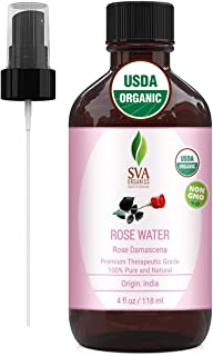 USDA Certified Organic Rose Water Facial Toner (118 ml) 4 Oz - 100% Pure Natural, Unrefined by SVA Organics | Aromatherapy...