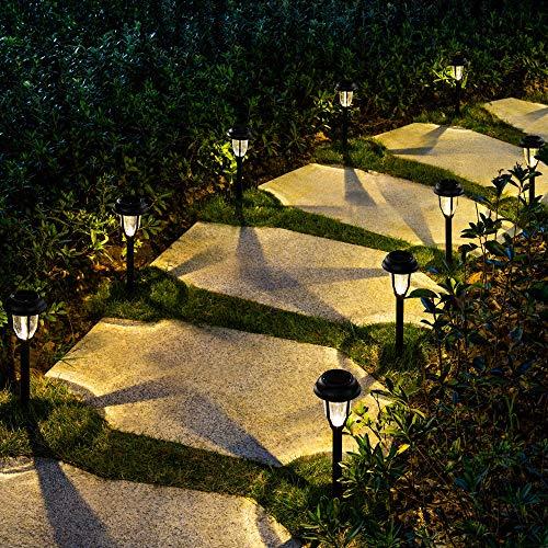 GIGALUMI Solar Path Lights Outdoor, LED Solar Garden Lights Wireless, Waterproof Solar Pathway Lights Outdoor for Patio, Yard, Walkway, Lawn. (8 Pack, Warm White)