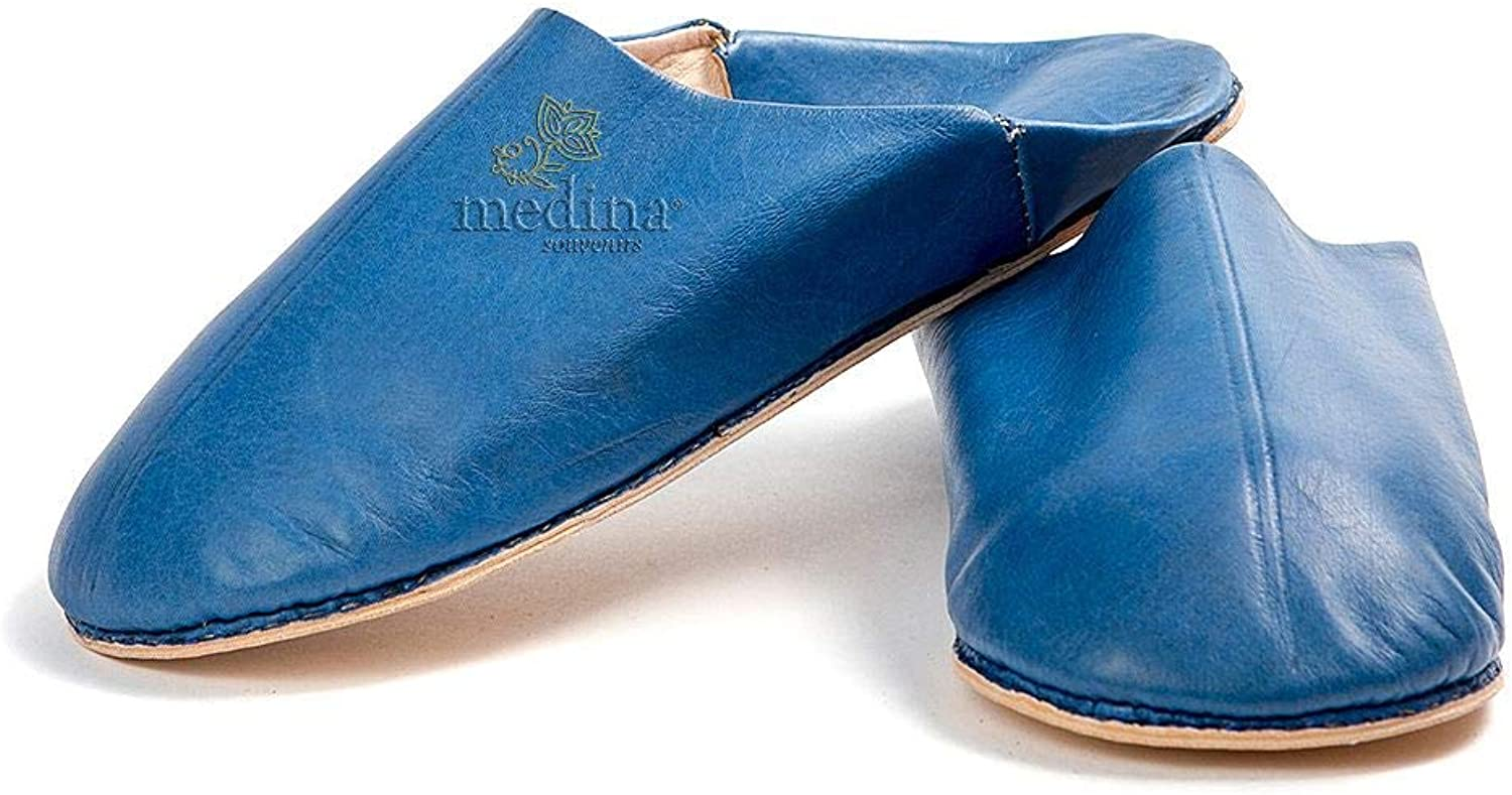 Medina Souvenirs Man and Woman Slipper Traditional bluee Jeans, Slipper Out Marrakech Round Hand Sewn Slippers