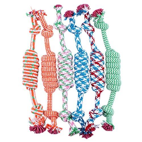 Gemini_mall® - Osso di stoffa per cani, 1 unità, giocattolo da masticare in cotone intrecciato, ideale per cuccioli di cane domestici, colore casuale