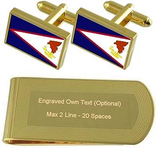 Select Gifts Bandera de Samoa Americana de Tono Oro Gemelos Money Clip Grabado Set de Regalo