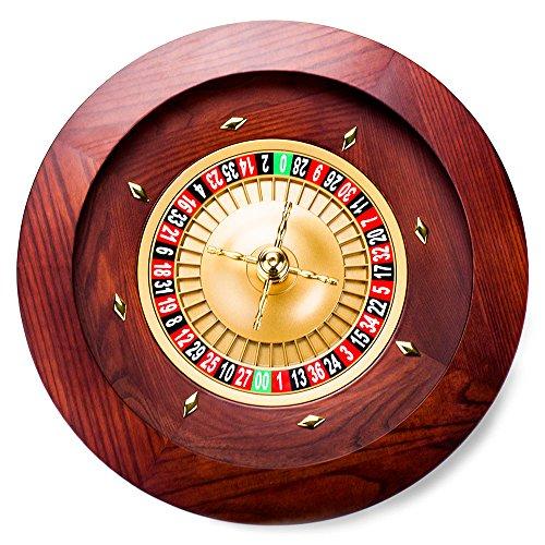 Poker Supplies 18 Inch Casino Grade Deluxe Wooden Mahogany Finish Roulette Wheel - Includes Bonus Marker and 2 Balls!