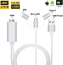 3 in 1 HDMI Cable Adapter, ZAMO 1080P USB/Type-C to HDMI Adapter Mirror Mobile Phone Screen to TV/Projector/Monitor Compatible with S8/9 Note 8/9 and More Android Devices